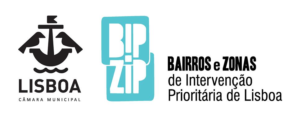 logótipos da Câmara Municipal de Lisboa e do BIPZIP (Projetos de bairros e zonas de intervenção prioritária de Lisboa)